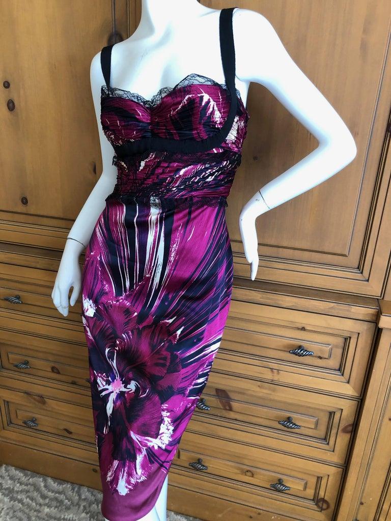 Women's Roberto Cavalli Vintage Purple Silk Floral Cocktail Dress with Lace Details