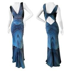 Roberto Cavalli Vintage Ruched Plunging Neckline Evening Dress w Keyhole Back