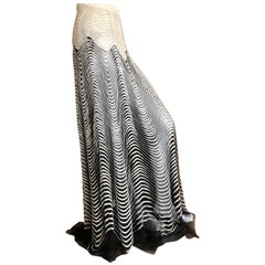 Roberto Cavalli Vintage Sheer Ball Skirt with Glass Bugle Bead Op Art Pattern