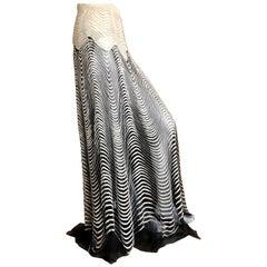 Roberto Cavalli Vintage Sheer Ball Skirt with Glass Bugle Bead Op Art Pattern