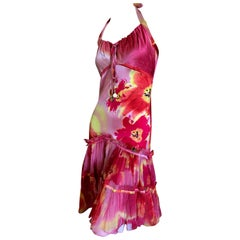 Roberto Cavalli Vintage Silk Acid Bright Floral Dress