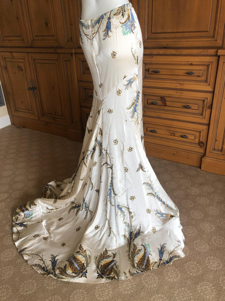 35bcbe4545 Gray Roberto Cavalli Vintage Silk Ball Skirt with Long Train and Horsehair  Hem For Sale