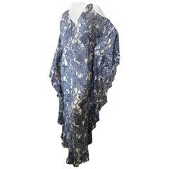 Roberto Cavalli Vintage SIlk Iris Print Cold Shoulder Caftan Dress