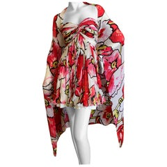 Roberto Cavalli Vintage Silk Strapless Mini Dress with Voluminous Matching Shawl