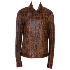 Roberto Cavalli Vintage Tan Brown Embroidered Calf Leather Moto Jacket XL