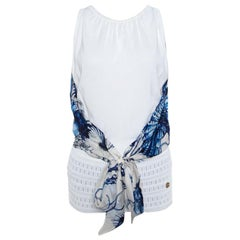 Roberto Cavalli White and Blue Printed Cutout Back Front Tie Sleeveless Top S