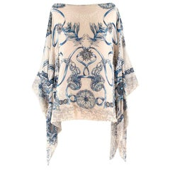 Roberto Cavalli White and Blue Sea Print Poncho Kaftan