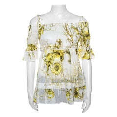 Roberto Cavalli White and Yellow Floral Printed Cotton Off Shoulder Blouse M