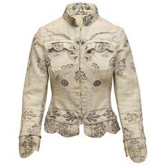 Roberto Cavalli White & Black Floral Print Glitter Jacket