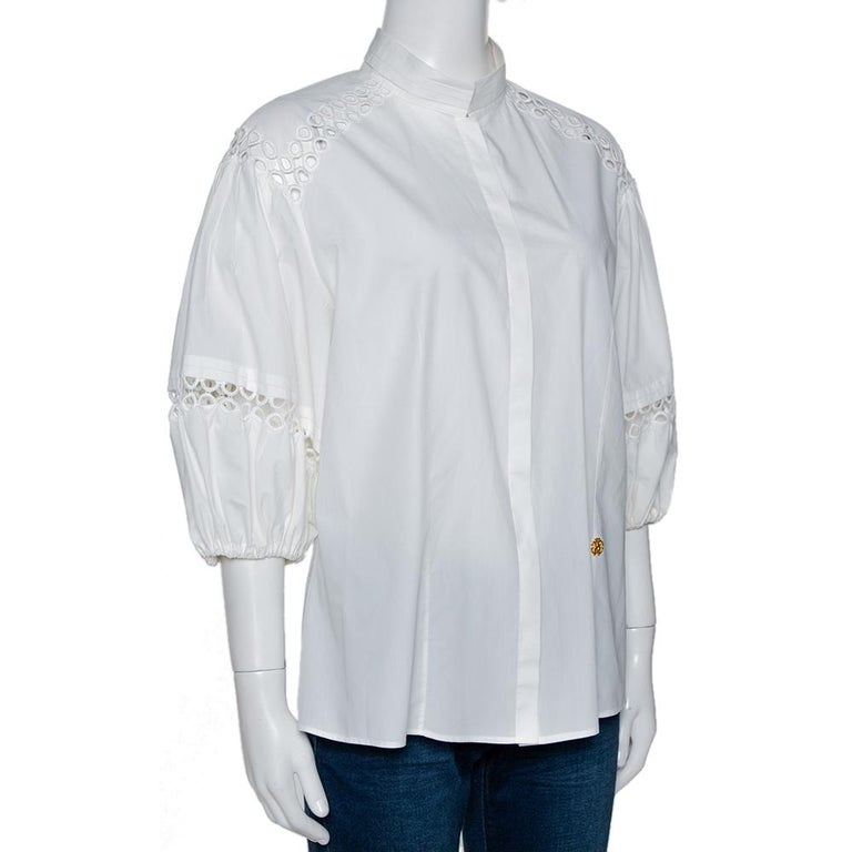 Gray Roberto Cavalli White Cotton Eyelet Lace Trim Blouse L For Sale