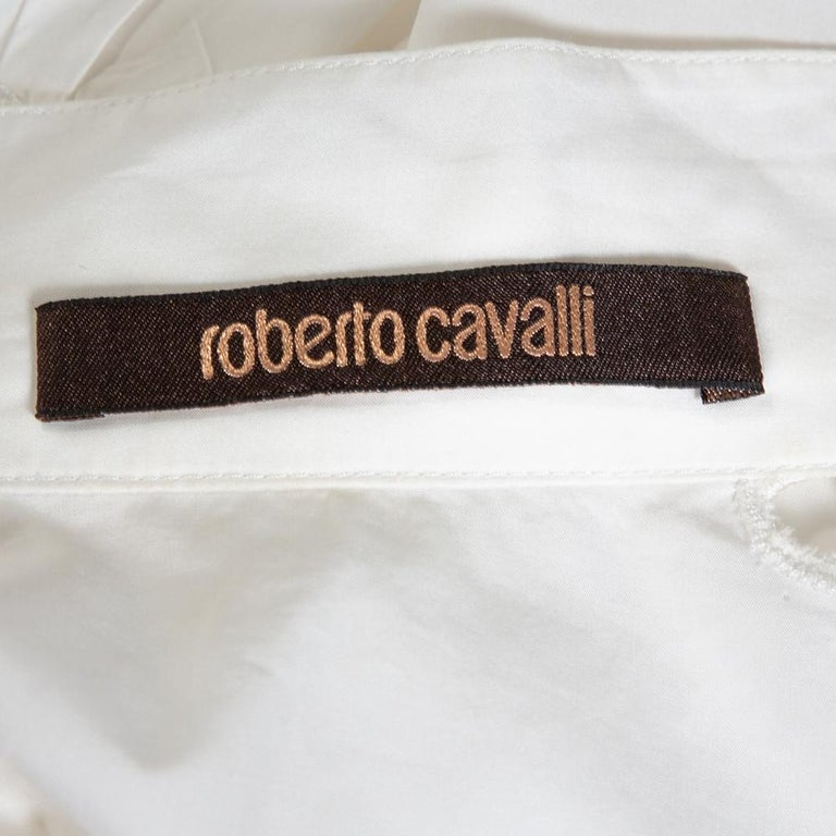 Roberto Cavalli White Cotton Eyelet Lace Trim Blouse L In Good Condition For Sale In Dubai, Al Qouz 2