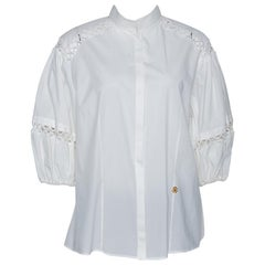 Roberto Cavalli White Cotton Eyelet Lace Trim Blouse L