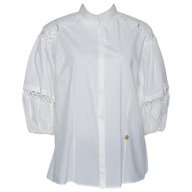 Roberto Cavalli White Cotton Eyelet Lace Trim Blouse L For Sale