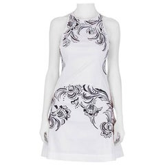Roberto Cavalli White Cotton Poplin Contrast Embroidered Sleeveless Dress S