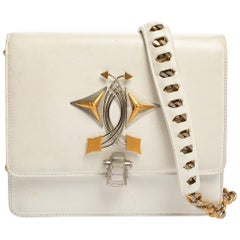 Roberto Cavalli White Leather Flap Shoulder Bag
