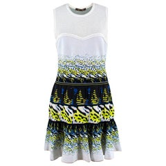 Roberto Cavalli White Patterned Silk Dress - Size US 8