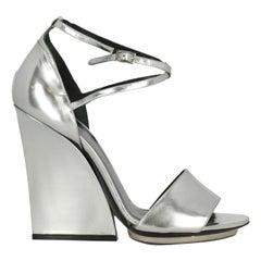 Roberto Cavalli Woman Sandals Silver Leather IT 40