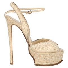 Roberto Cavalli Women  Sandals Ecru Leather IT 37