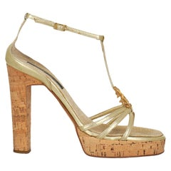 Roberto Cavalli Women  Sandals Gold Leather IT 37