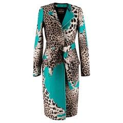 Roberto Cavalli Wool Blend Leopard Teal Longline Coat IT40