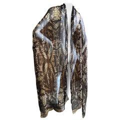 Roberto Cavalli Xtra Large Leopard Print Silk Shawl