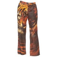 Roberto Cavalli Y2K Tiger Print Jeans With Metallic Gold
