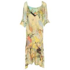 Roberto Cavalli Yellow Abstract Print Draped Neck Maxi Dress XL