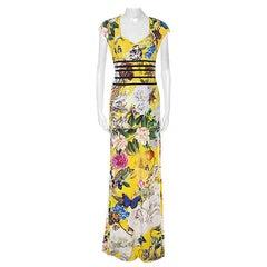 Roberto Cavalli Yellow Floral Wonderland Print Dress XL