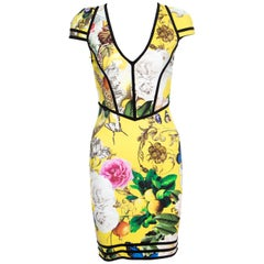 Roberto Cavalli Yellow Fruit and Floral Print Contrast Trim Detail Punto Dress S
