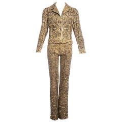 Roberto Cavalli yellow printed cotton embellished pant suit, ss 2001
