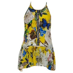 Roberto Cavalli Yellow Printed Silk Lace Detail Halter Top M