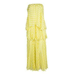 Roberto Cavalli Yellow Printed Silk Tiered Strapless Dress M