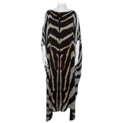 Roberto Cavalli Zebra Print Cutout Sleeve Detail Silk Maxi Dress S