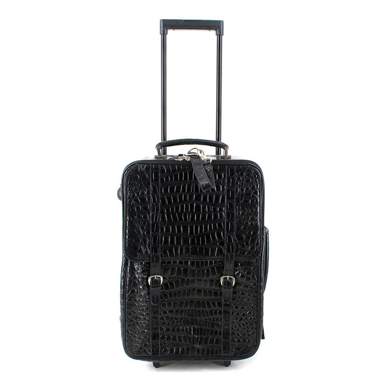 Roberto Celk Artioli Black Crocodile Carry-on Suitcase For Sale 6