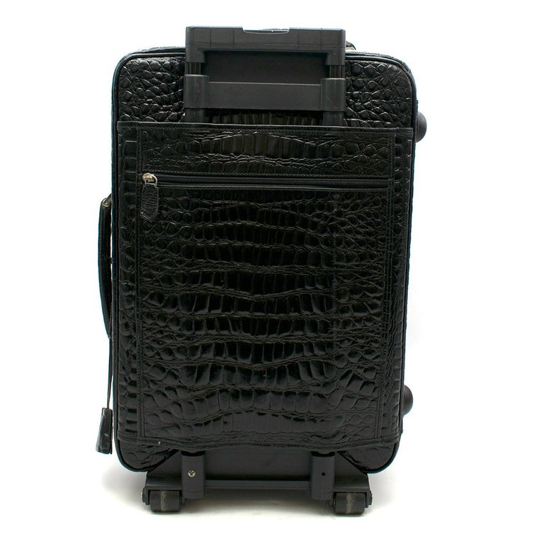 Roberto Celk Artioli Black Crocodile Carry-on Suitcase In Good Condition For Sale In London, GB
