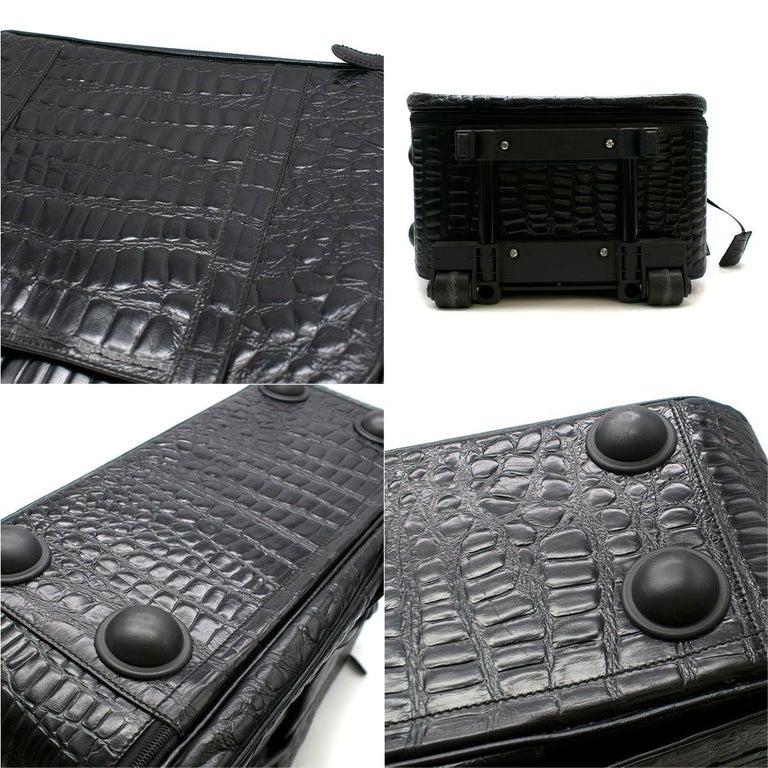 Roberto Celk Artioli Black Crocodile Carry-on Suitcase For Sale 1
