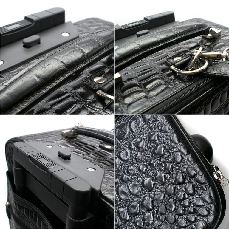 Roberto Celk Artioli Black Crocodile Carry-on Suitcase For Sale 2