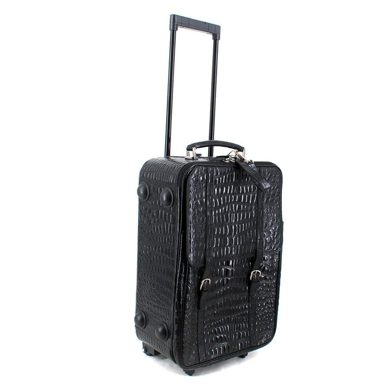 Roberto Celk Artioli Black Crocodile Carry-on Suitcase For Sale 5