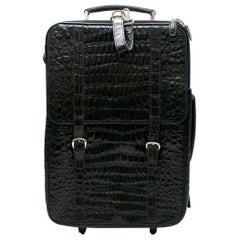 Roberto Celk Artioli Black Crocodile Carry-on Suitcase
