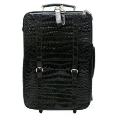Roberto Celk Artioli Black Crocodile Carry-on Suitcase