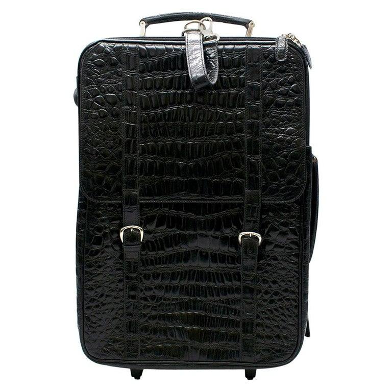 Roberto Celk Artioli Black Crocodile Carry-on Suitcase For Sale