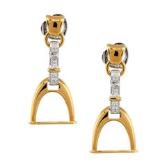 Roberto Coin 0.35ctw Diamond Pave Horsebit Earrings 18 Karat in Stock