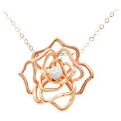 Roberto Coin 1.00 Carat Diamond 18 Karat Rose Gold Rose Flower Necklace