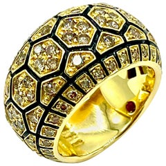 Roberto Coin 1.05 Carat Champagne Diamond and Black Enamel Yellow Gold Band Ring