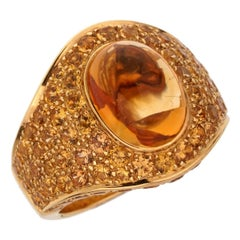 Roberto Coin 10.9 Carat Citrine Pave Cocktail Gold Ring