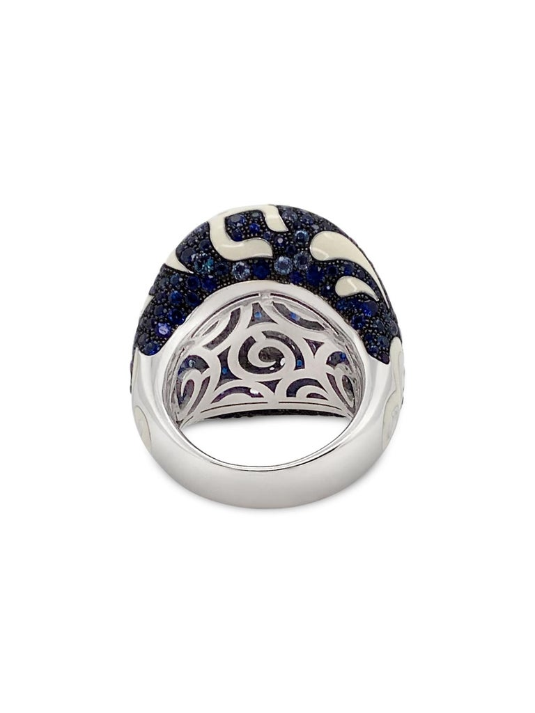 Contemporary Roberto Coin 17.50 Carat Total Weight Sapphire Enamel 18 Karat Gold Dome Ring For Sale