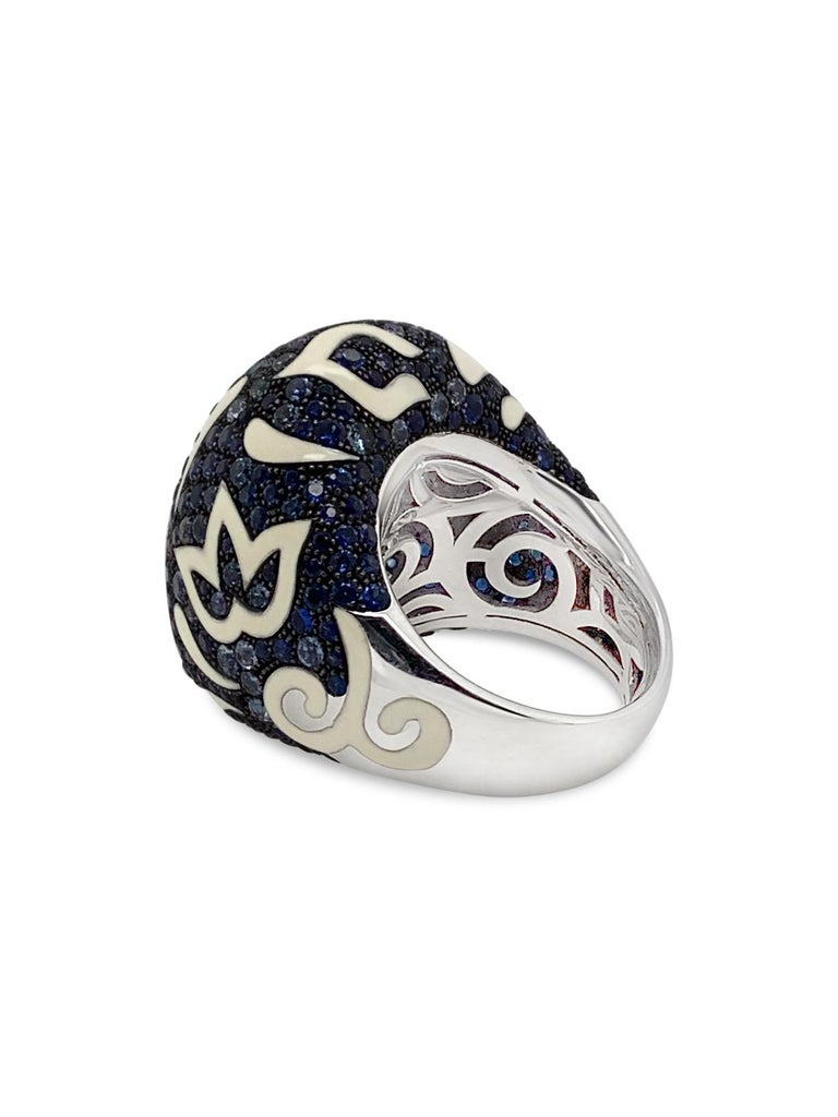 Round Cut Roberto Coin 17.50 Carat Total Weight Sapphire Enamel 18 Karat Gold Dome Ring For Sale
