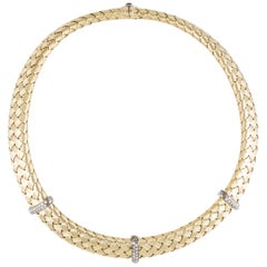Roberto Coin 18 Karat Diamond Woven Necklace