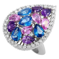 Roberto Coin 18 Karat Gold Diamond, Amethyst and Blue/Pink Sapphire Pear Ring
