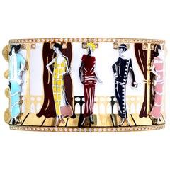 Roberto Coin 18 Karat Gold Diamond Enamel Ladies Models Wide Cuff Bracelet